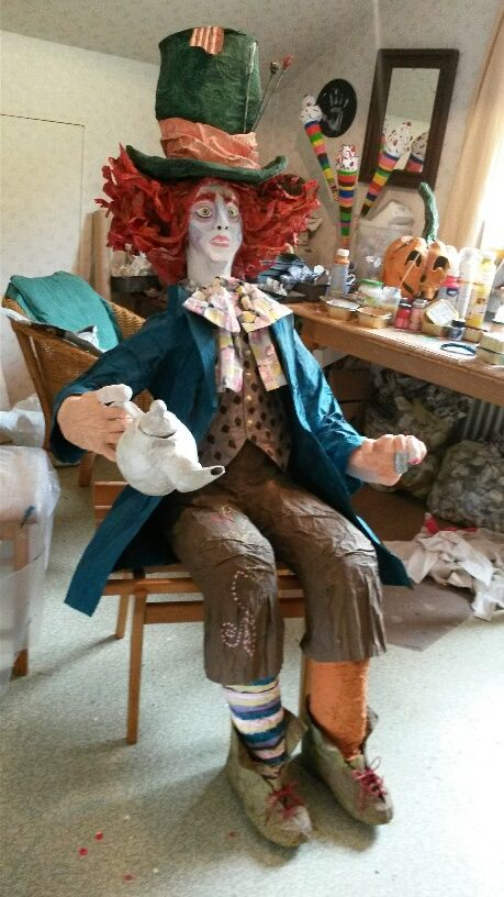 Life size Paper Mache Mad Hatter by Vicki - Daily Sculptors Group