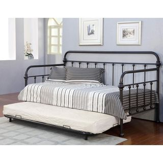 daybed with trundle. Furniture Of America Lissa Modern Metal Daybed With Trundle Set (Dark Bronze), Black, Size Twin