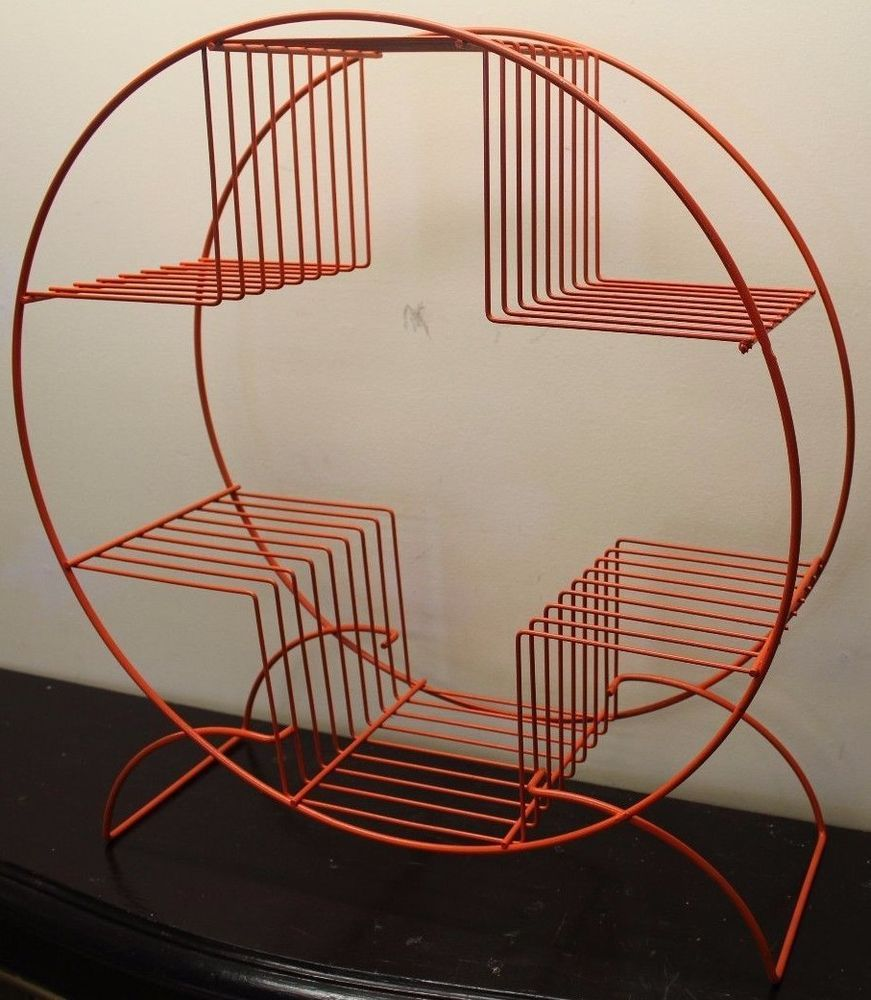 Vintage mid century modern metal folding wire mesh patio chairs - Vintage Mid Century Modern Retro Round Circle Orange Metal Wire Plant Stand