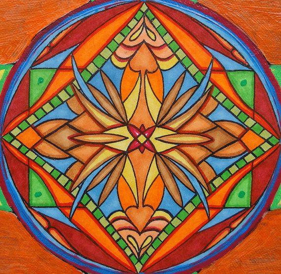 Original Art Nouveau Mandala Art Orange Bee Mixed Media Mandala Painting via Etsy