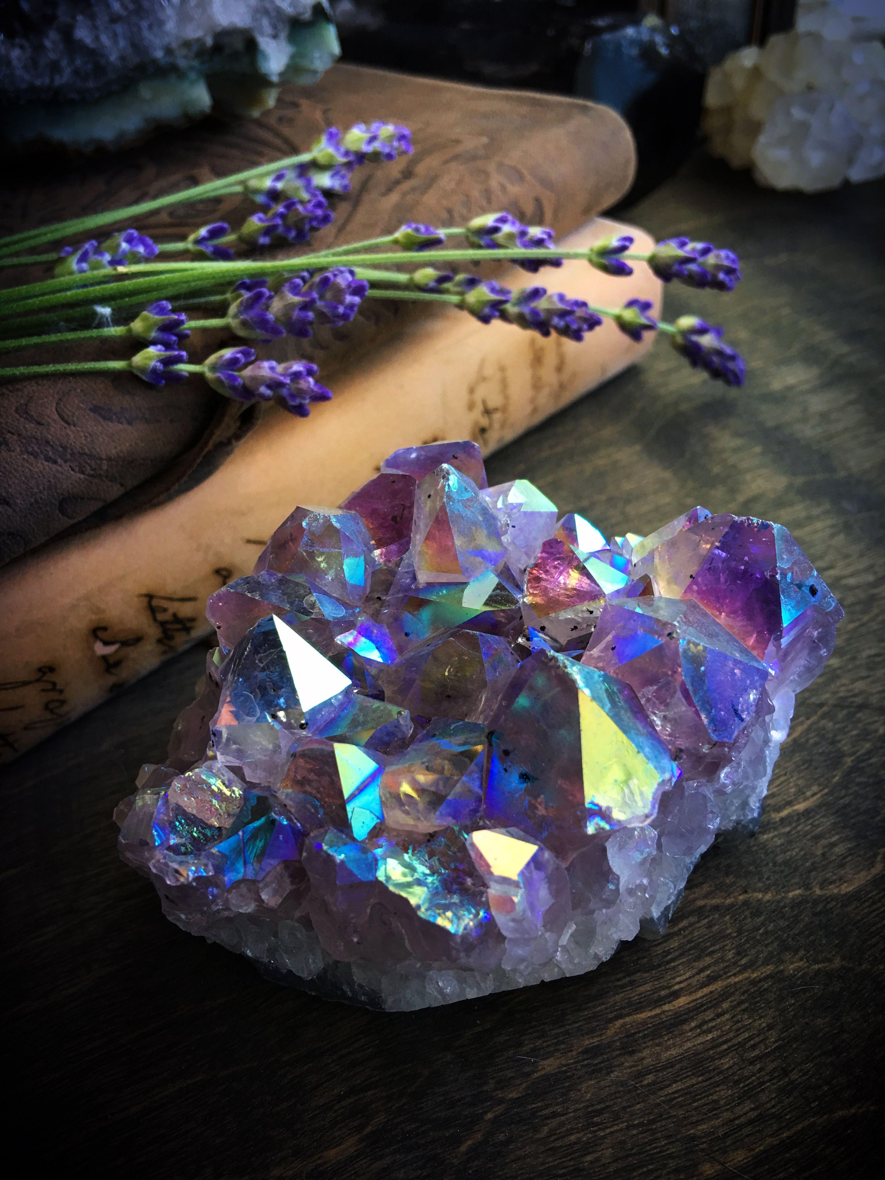 Brilliant Titanium Aura Amethyst cluster | Quartz crystal ...