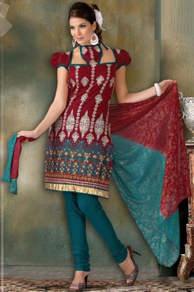 Designer Embroidered Party Churidar Kameez; Carmine Red and Cerulean Blue Cotton Embroidered Party and Festival Churidar Kameez