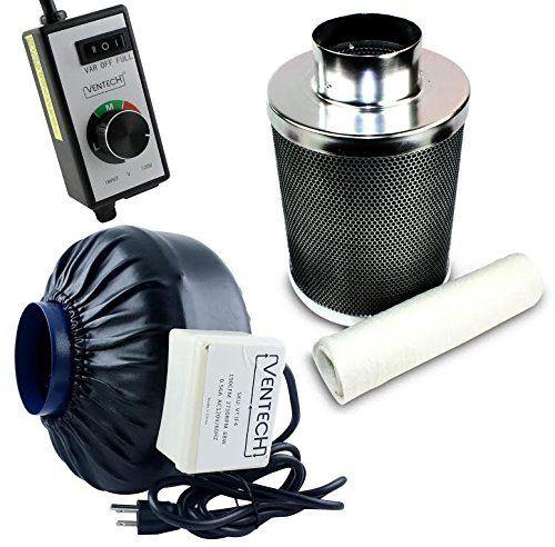 Ventech Vt If4 Cf4 B Inline Exhaust Blower Fan With Carbon Filter And Variable Speed Controller 190 Cfm 4 Bathroom Exhaust Fan Bathroom Fan Light Air Filter Lights