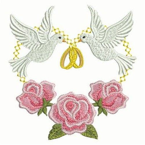 corner roses free machine embroidery design get ready for any wedding with this rings doves embroidery
