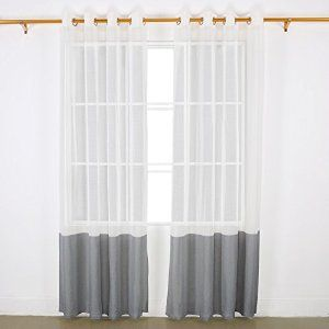 Deconovo Woven Faux Linen Grommet Decorative Sheer Window Curtains For Bedroom
