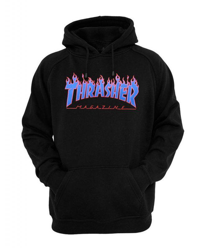 a96c46b3f2f6 Thrasher blue flame logo hoodie in 2019