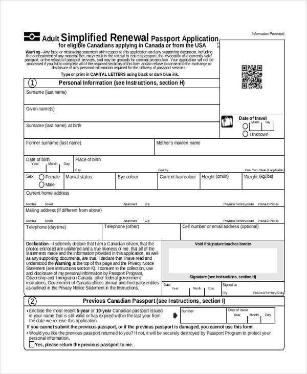 Free Passport Renewal Form Sample Passport Renewal Form 8 Free