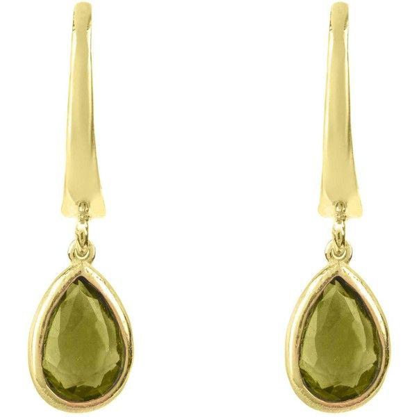 Latelita London Pisa Mini Teardrop Earrings Gold Peridot 0HNOo0