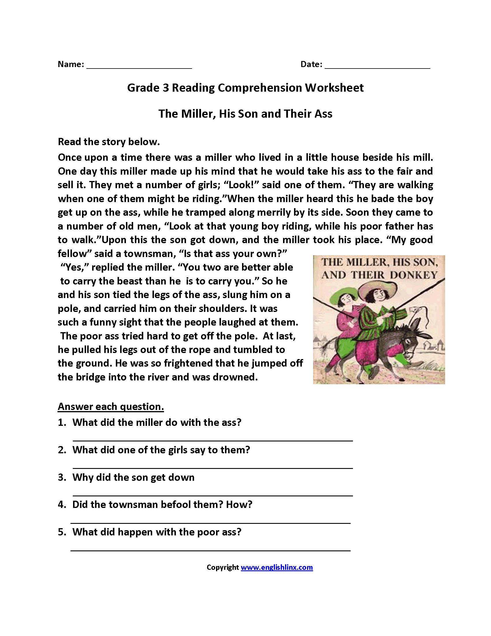 Reading Worksheets   Third Grade Reading Worksheets   Reading comprehension  worksheets [ 2200 x 1700 Pixel ]