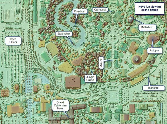 Disneyland Map Area Anaheim Ca Map LiDAR Amusement By Artalytics - Disneyland brazil map