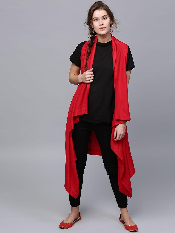 Aks Red Solid Longline Waterfall Shrug Fashion Style Women Western Wear For Women Fashion Fashion Outfits [ 1440 x 1080 Pixel ]