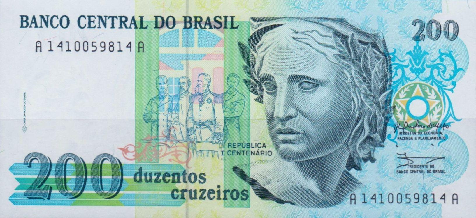 Brazil Bank Note 200 Cruzados Billetes Del Mundo Centenario