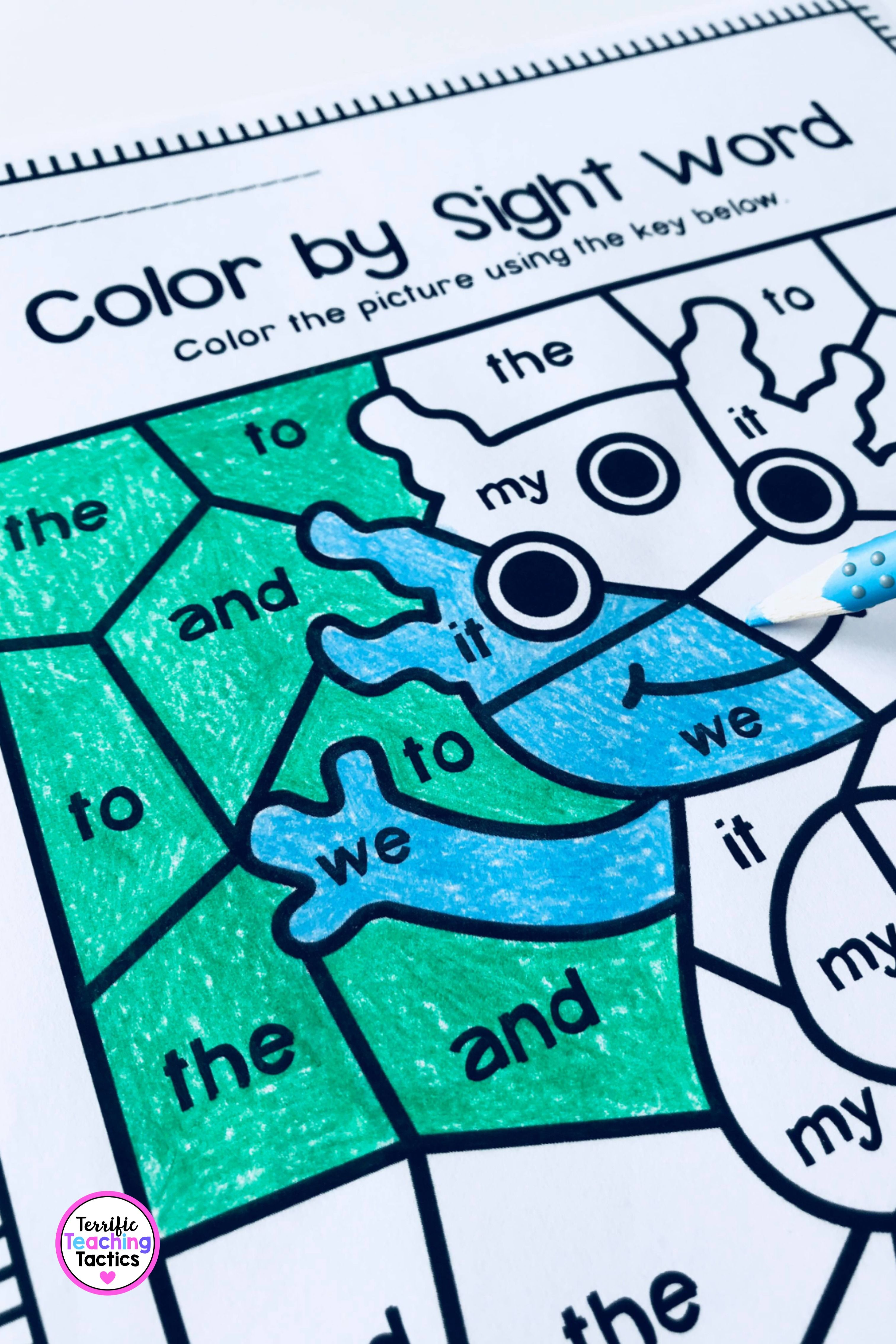 Color By Sight Word Worksheets For Pre Primer In