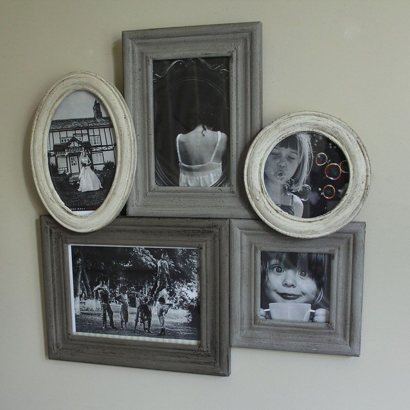 Grey and Cream Wooden Multi Photograph Frame | Gray, Display family ...