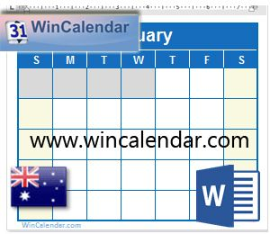 Blank And Printable Calendar With Australia Holidays In Word