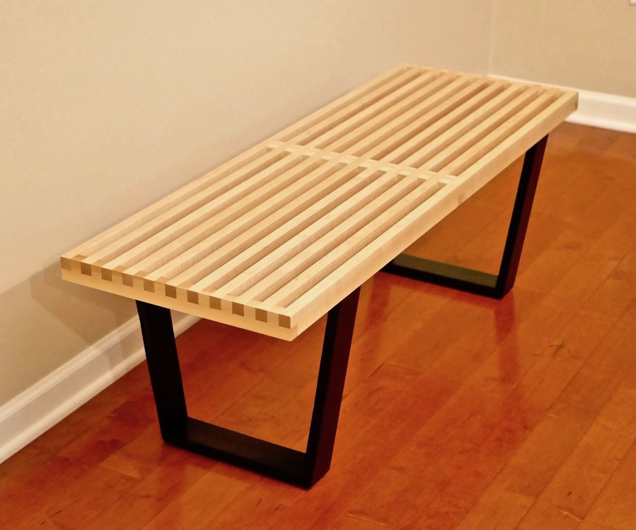 Mid Century Solid Wood Small Platform Slat Bench Or Coffee: DIY Mid-Century Modern Slatted Bench