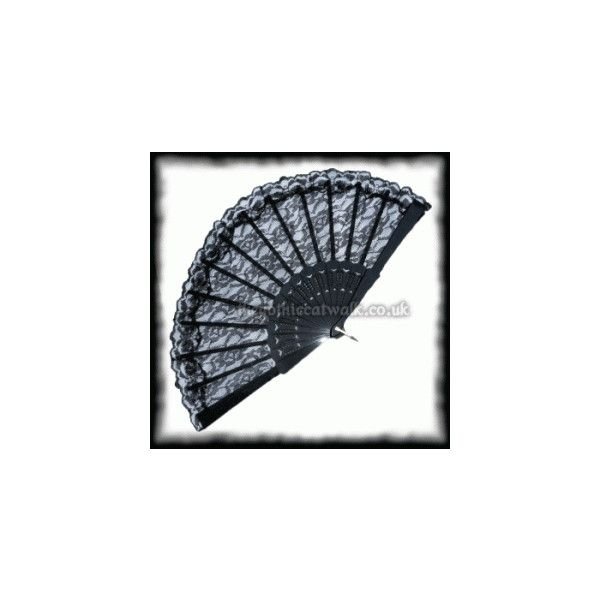 Gothic Burlesque Black Lace Fan ($7.09) ❤ liked on Polyvore featuring home, home decor, fans, standing fans and fan