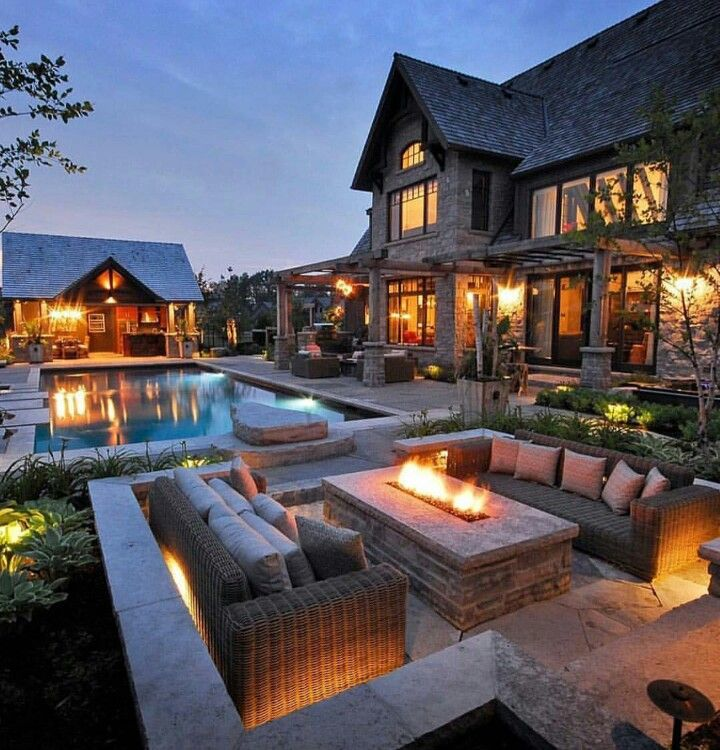 Dream backyard oasis with pool and firepit | Backyard ... on Dream Backyard With Pool id=26241