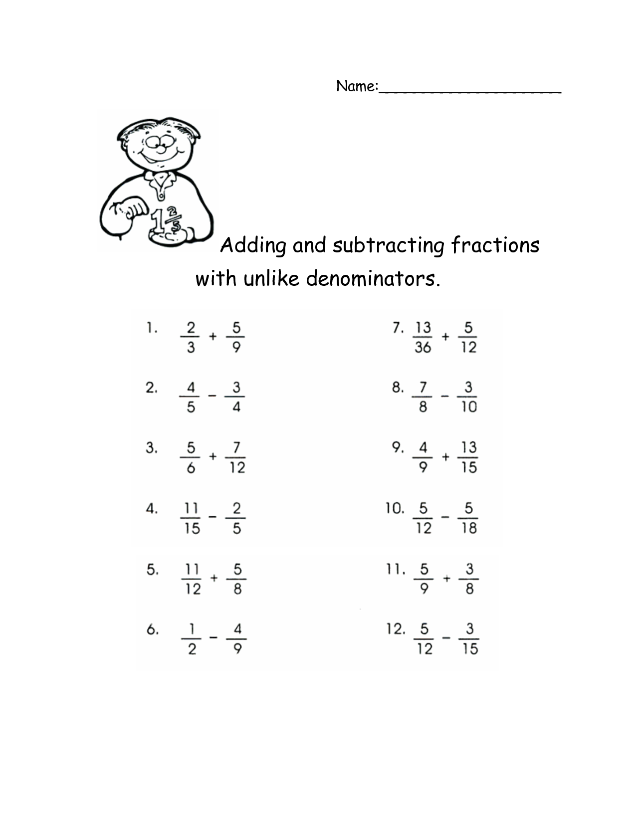 worksheet Subtraction Fraction Worksheets adding and subtracting fractions with unlike denominators activities