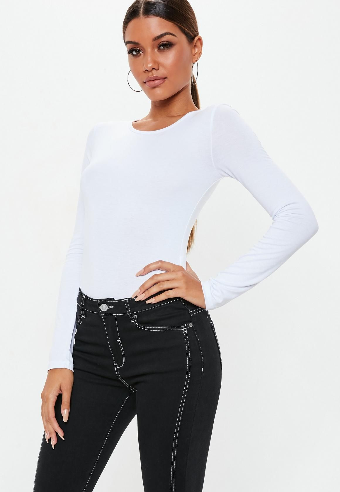 8738d87d75f Missguided - White Long Sleeved Jersey Bodysuit in 2019