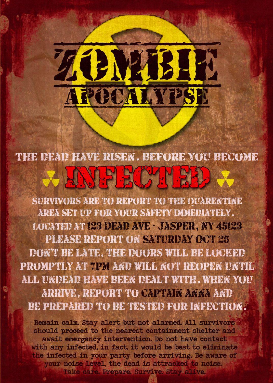 photograph about Quarantine Signs Printable named Zombie Apocalypse Quarantine Consideration Printable through