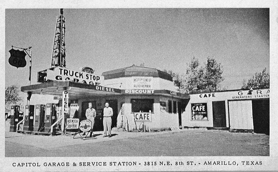 Vintage truckstop Old gas stations, American gas, Old