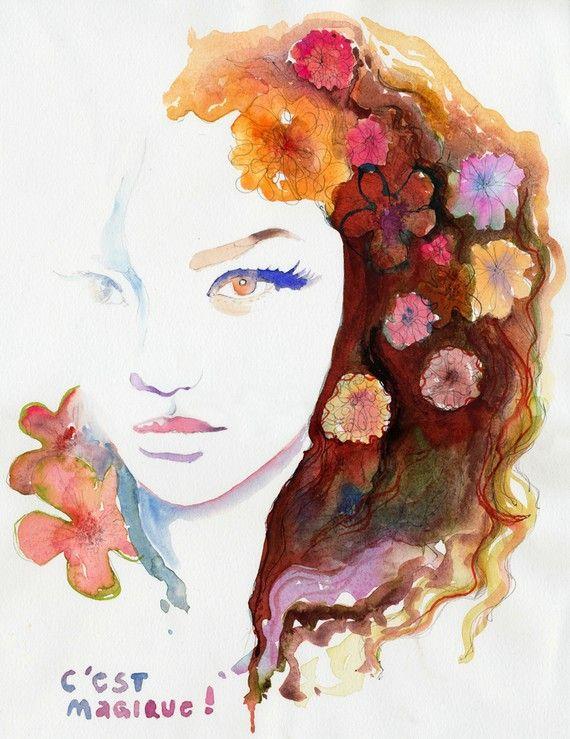 Watercolor Painting Print, Fashion Illustration. Titled:  C est Magique by silverridgestudio