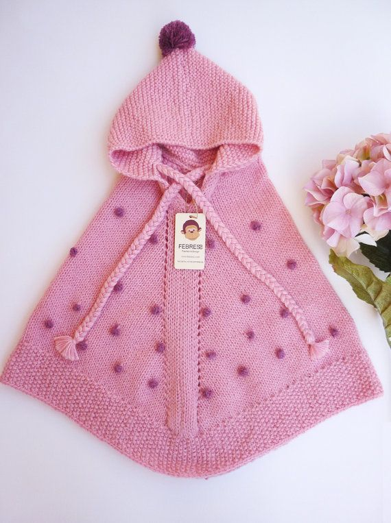 ALPACA wool baby poncho with hood, poncho girls, hand knit, delicate ...