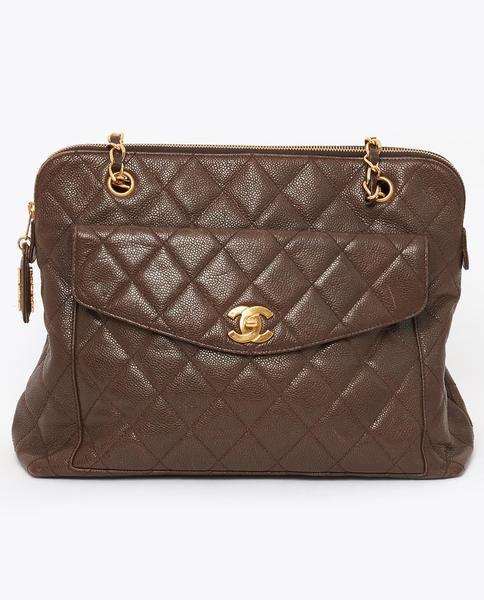 e88e4f90e4bc Vintage Chanel brown caviar skin tote | Vintage designer bags ...