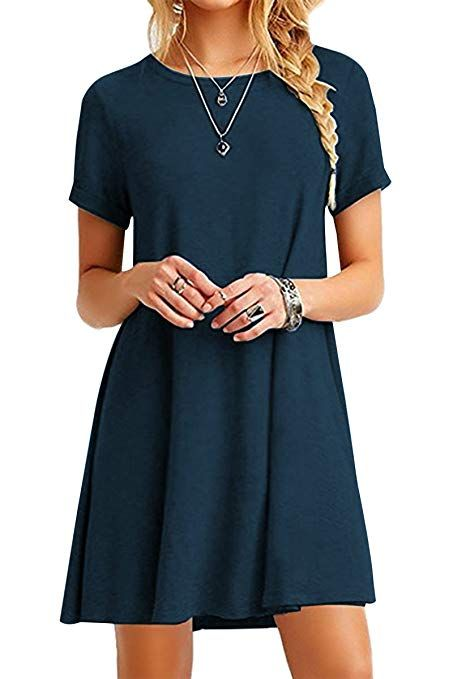 a22cfc03758 YMING Femme Robe Manches Courtes Chemise Loose longue T-Shirt Basique Robe