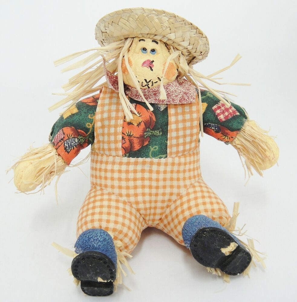 Sitting Scarecrow Stuffed Fall Decoration Straw Hat Squash