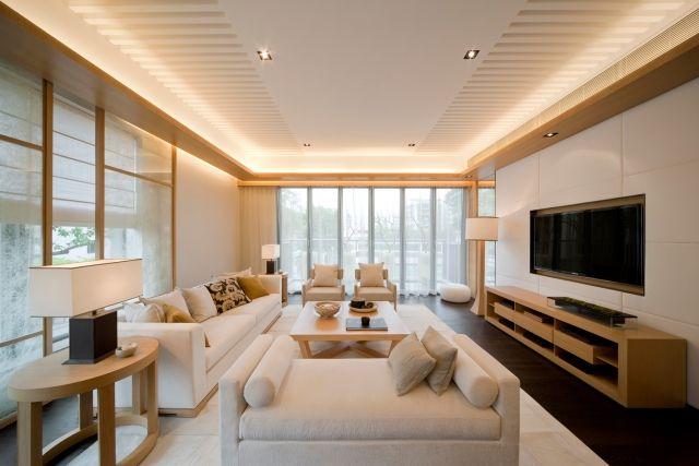ideen-wohnzimmer-weiss-holz-indirekte-beleuchtung-decke - wohnzimmer weis modern