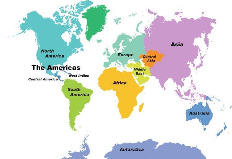 Actividades para niños preescolar, primaria e inicial. Plantillas con mapas del mundo y por continentes para imprimir. Mapas. 4