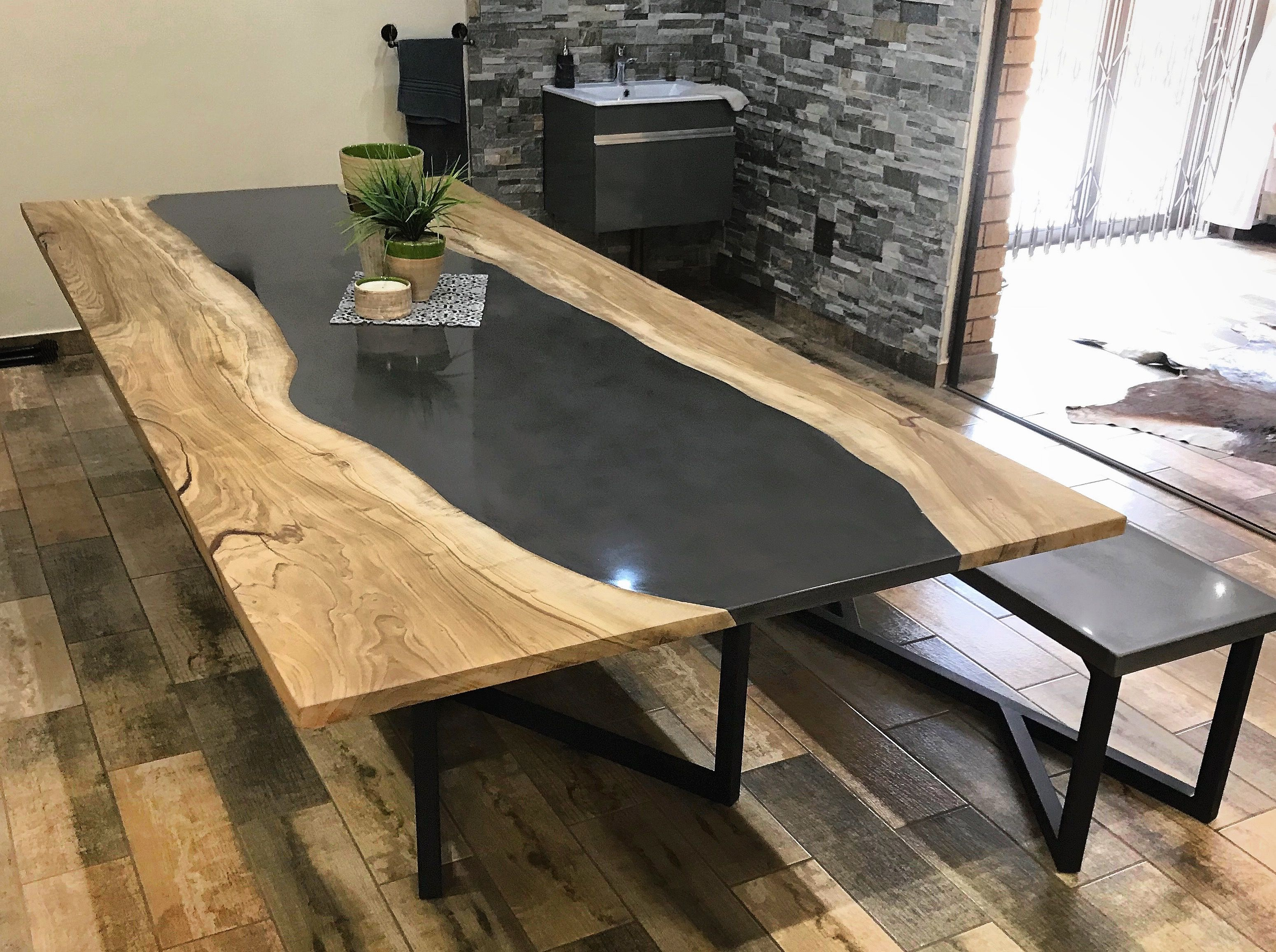Polished Concrete And Wild Olive Wood Fused To Create A Unique
