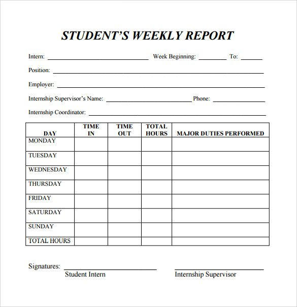 Image result for employee weekly report template Weekly Report - student progress report template