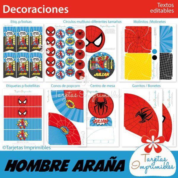 decoraciones-imprimibles-spiderman. Imprimibles free.
