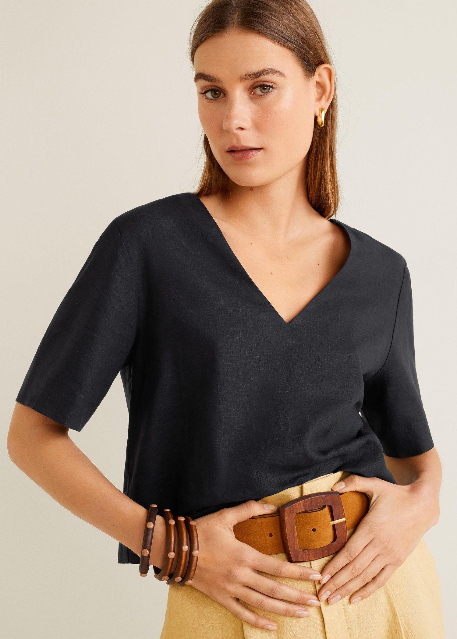 ea64fe42998 Linen crop blouse - Women in 2019 | clothe me | Crop blouse, Blouses ...