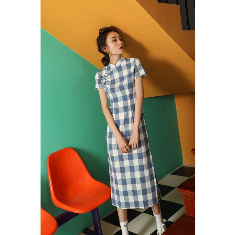 チャイナドレス ワンピース ドレス 改良型チャイナドレス チャイナ風服 スタンドネック 半袖 ロング丈 エレガント 着痩せ 上品 大きいサイズ s m l ll 3l チェック柄 ブルー 青い elegant ワンピース ドレス ファッションアイデア 半袖ドレス