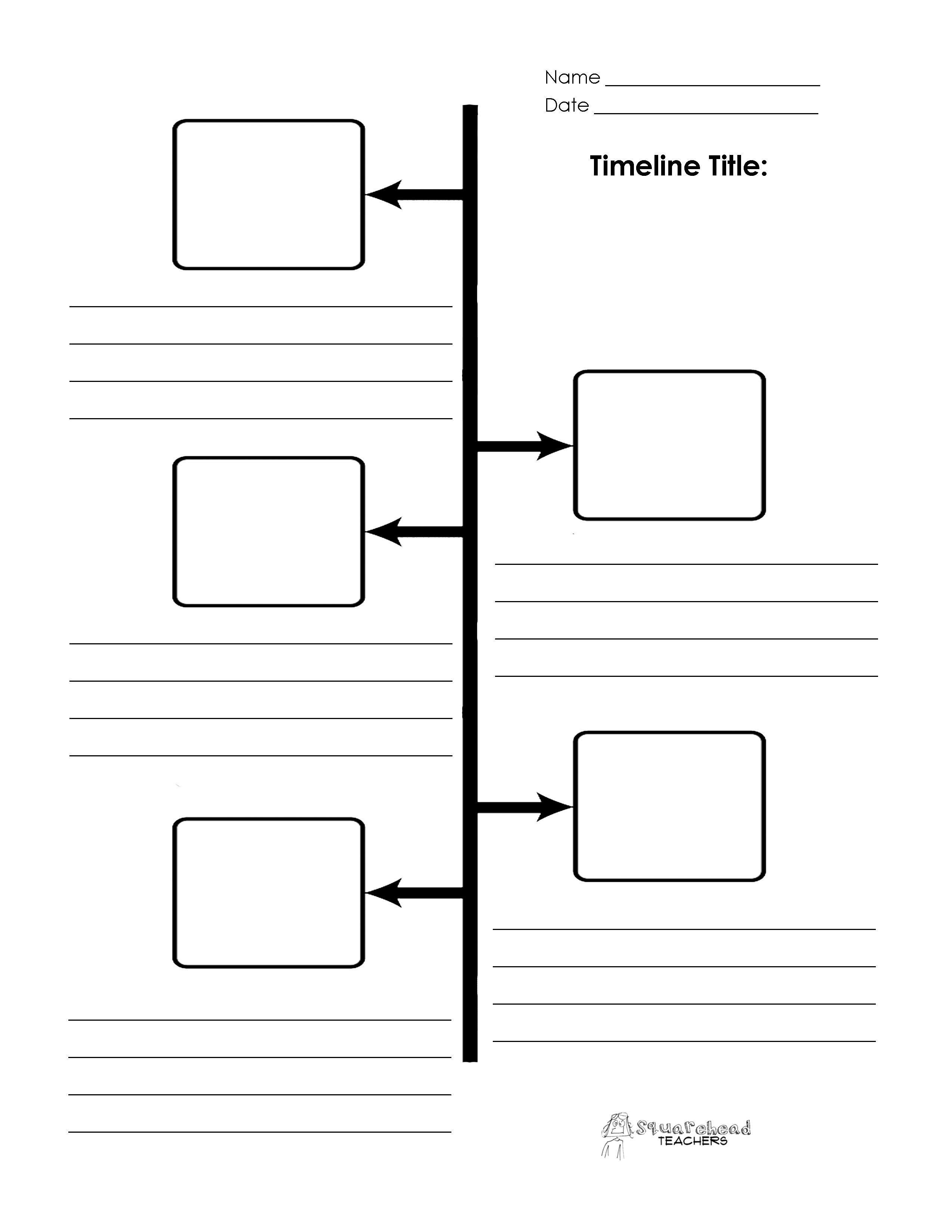 Blank Timeline Printables Social Studies Graphic Organizers