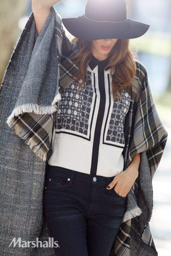 Mix to match. A poncho with plaid and herringbone over a printed shirt with geometric shapes is unexpected and shows you know how to mix it up. Pair with a dark wash denim. Felt hats are no longer just boho, adding a nice accent to your personal style.