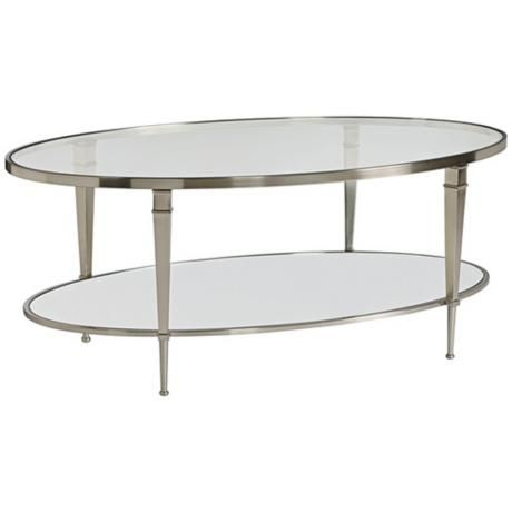 Awesome Hammary Mallory Oval Glass And Nickel Cocktail Table