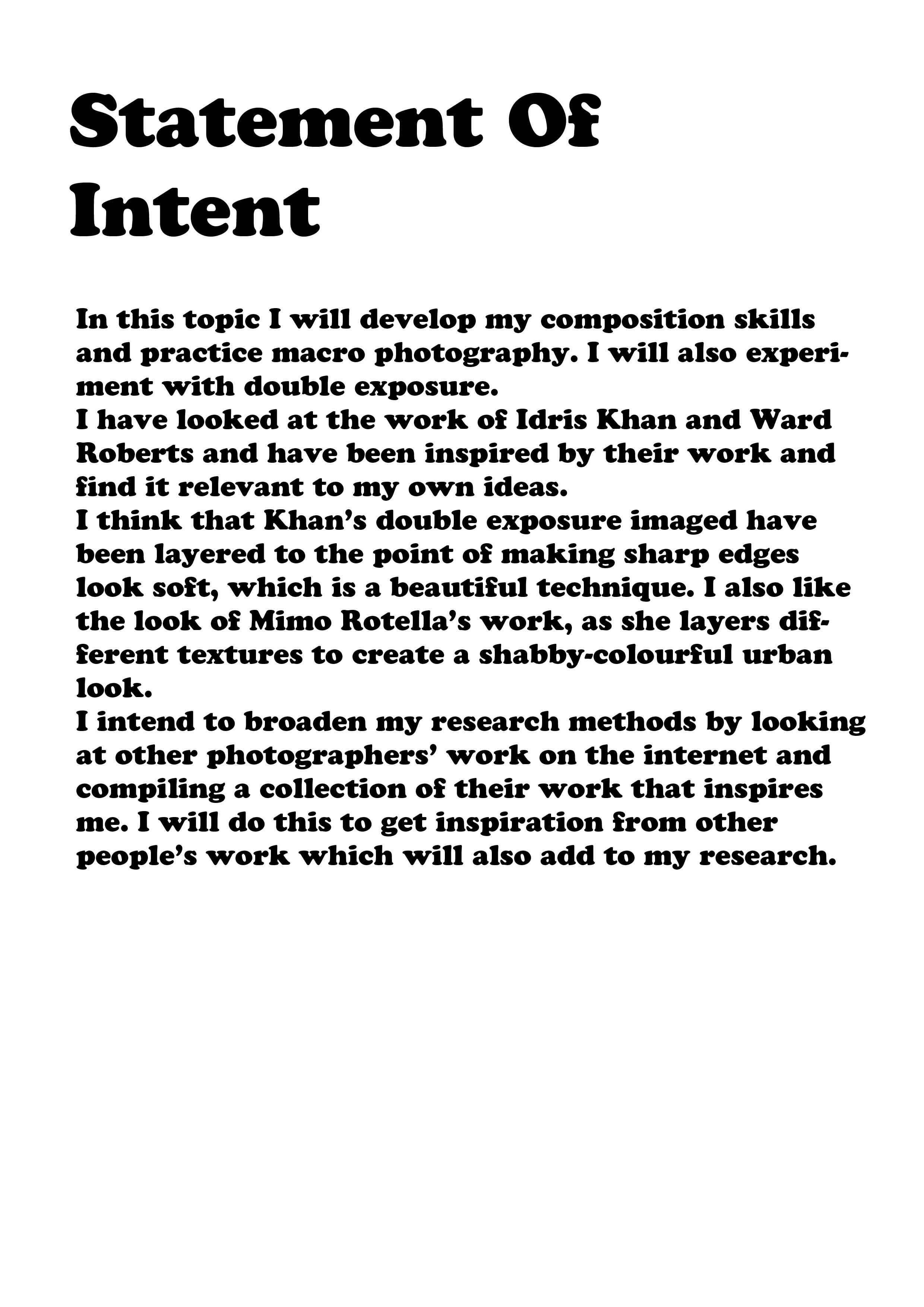 statement of intent texture Art analysis, Photography