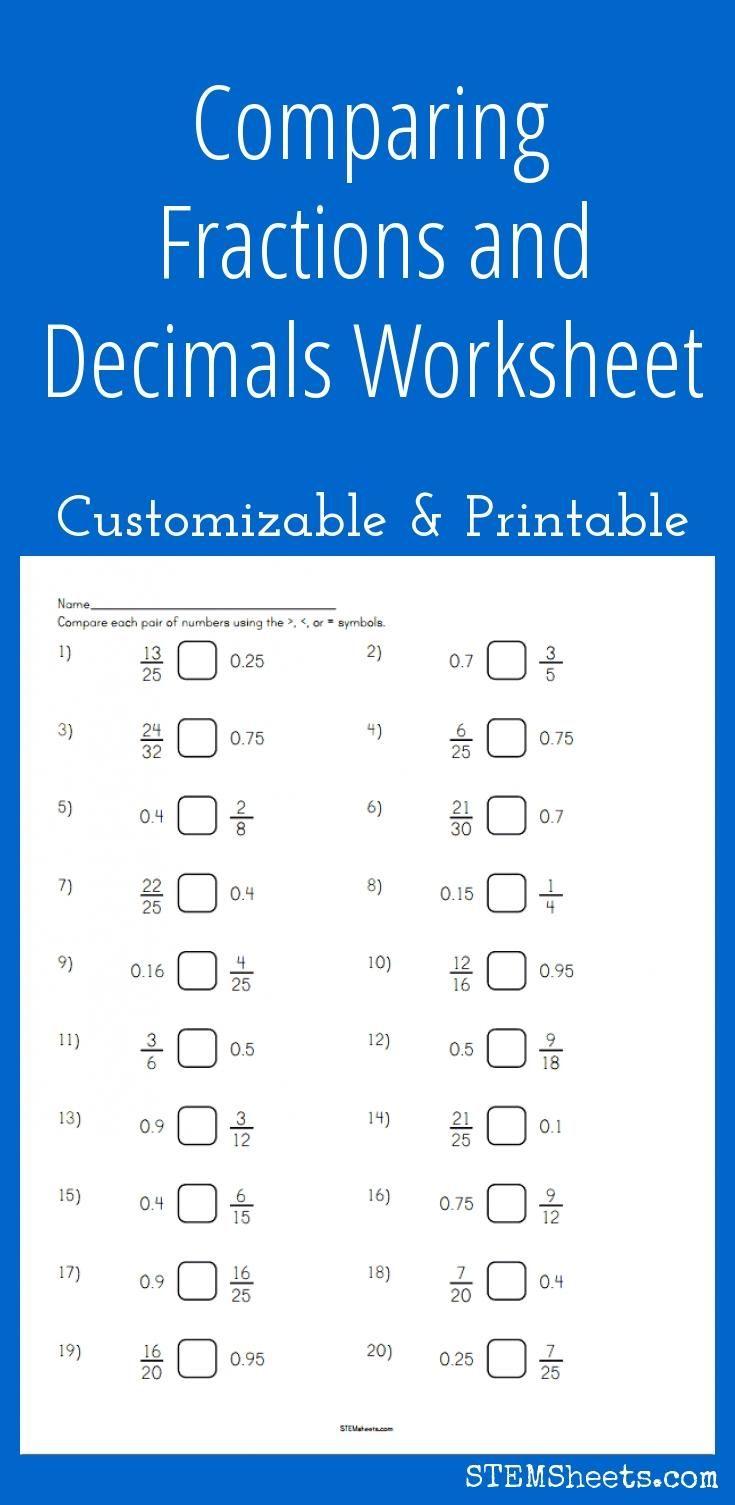 Comparing Fractions and Decimals Worksheet   Decimals worksheets [ 1505 x 735 Pixel ]
