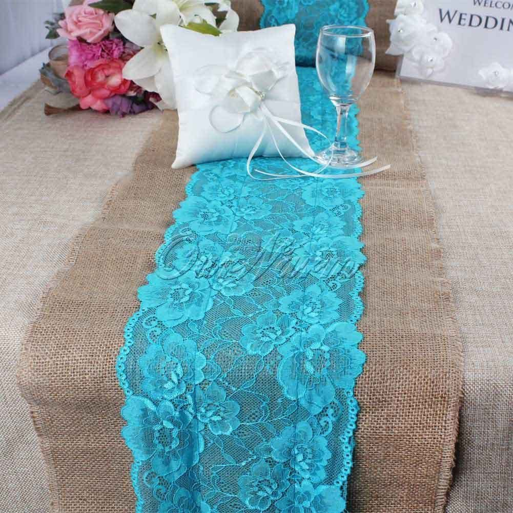 Aqua Blue Vintage Burlap Lace Table Runner Wedding Xmas Tablecloth