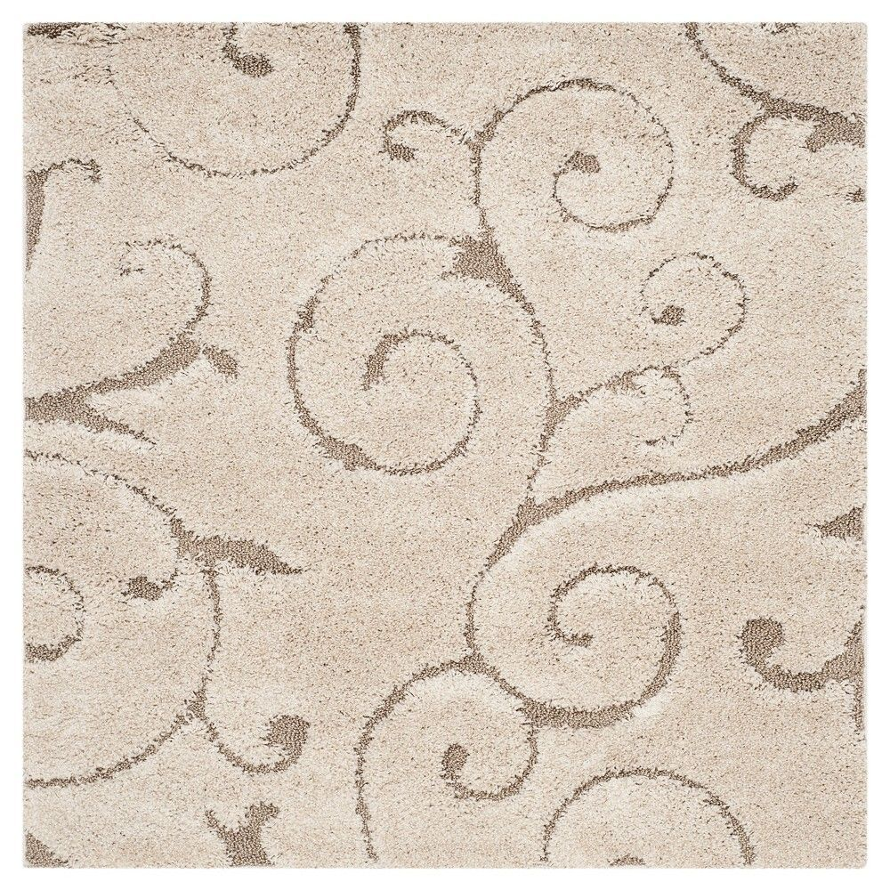 Cream/Beige (Ivory/Beige) Abstract Shag/Flokati Loomed Square Accent Rug - (4'X4') - Safavieh