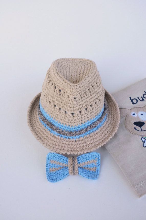 Fedora Hat and Bow Tie Set Baby Boy Shower Gift Newborn Photography Props Crochet Cotton Summer Fedora Hats Trilby Hat Beige Blue Gift Set