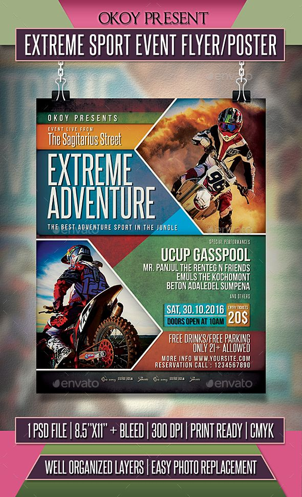 Extreme Sport Event Flyer / Poster | Event Flyers, Flyer Template
