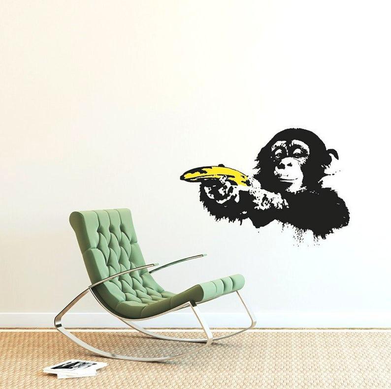 Banksy Decal Monkey With Warhol Banana Monkey Wall Sticker Etsy Banksy Straßenkunst Banksy Streetart