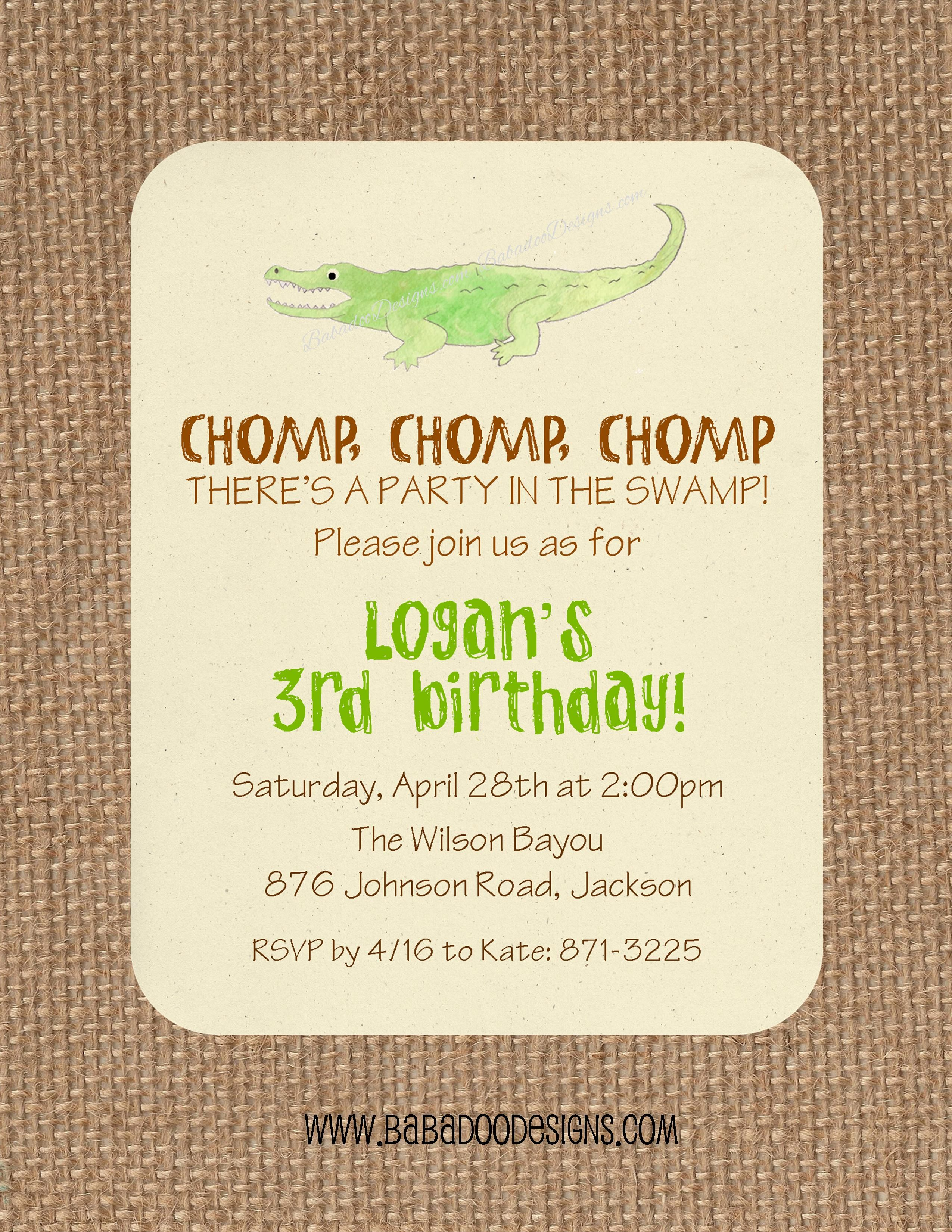 Alligator, Crocodile or Swamp Party Birthday Party Baby Shower ...