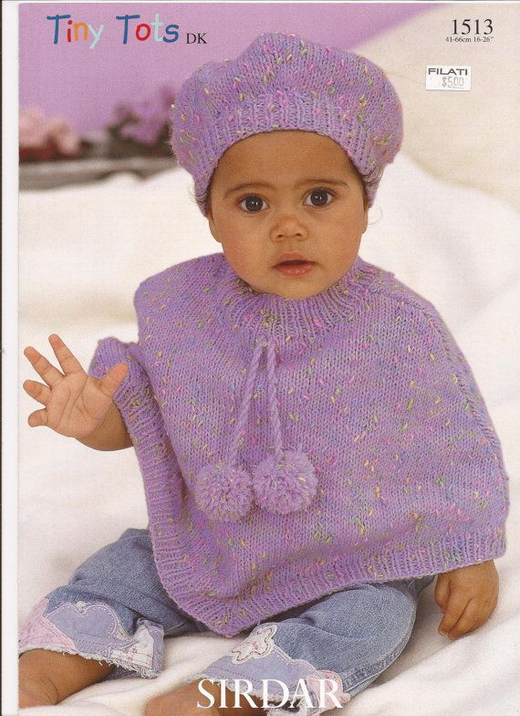 Knitted Beret Pattern Toddler : Sirdar Tiny Tots DK Knitting Pattern 1513 Poncho & Beret NB-6Y Free kni...